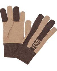 Fendi Cashmere Striped Gloves - Multicolour