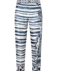 Dolce & Gabbana マジョリカプリント パンツ - ブルー
