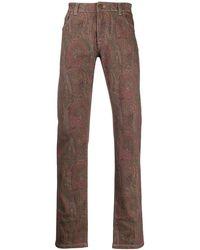 Etro Jeans Met Paisley-print - Bruin