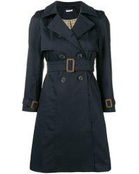 Miu Miu Belted Trench Coat - Blue