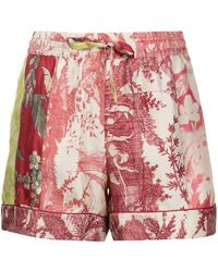 Pierre Louis Mascia Aloe Print Shorts - Red