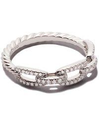 David Yurman - 18kt White Gold Stax Single Row Pavé Diamond Chain Link Ring - Lyst