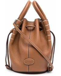 Tod's Contrast-stitching Bucket Bag - Brown