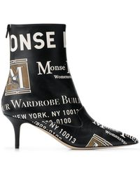 Monse Printed Pointed Boots - Black