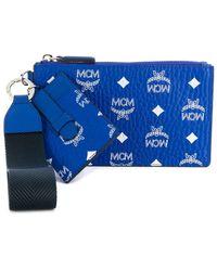 MCM Clutch mit Monogramm - Blau