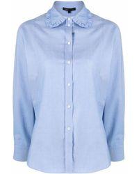 Maje Chemise à col volanté - Bleu