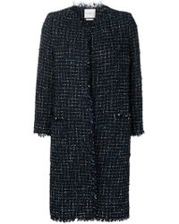 Ballantyne Bouclé Tweed Midi Coat - Blue