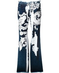 Marques'Almeida Paisley Stencilled Wide Leg Jeans