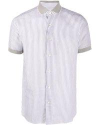Brioni Полосатая Рубашка С Короткими Рукавами - Белый