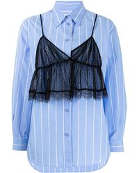 Pushbutton Gestreiftes Hemd mit Tüll-Overlay - Blau