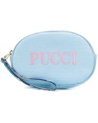 Emilio Pucci Logo Embroidered Cosmetic Bag - Blue