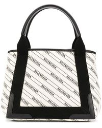 Balenciaga Logo Print Shopping Bag - White
