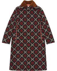 Gucci GG Diamond Wool Cape Coat - Zwart