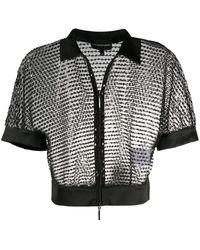 Emporio Armani Sequin Sheer Cropped Jacket - Black