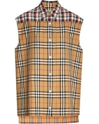 Burberry - Contrast Check Sleeveless Shirt - Lyst