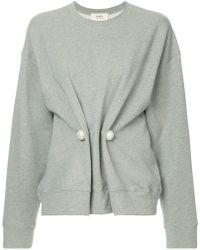 Ports 1961 - Pearl Embellished Draped Sweatshirt - Lyst