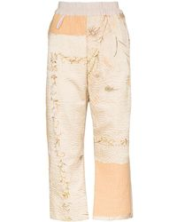 By Walid Jenny Floral-embroidered Cropped Trousers - Natural