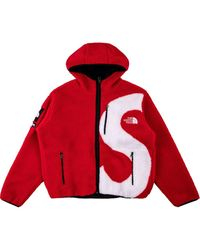 Supreme X The North Face S Logo Fleece Jacket - Red