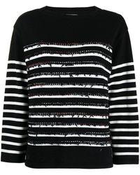 Coohem Horizontal-stripe Knit Sweater - Black