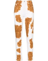 Eckhaus Latta Cow Print Slim Fit Jeans - Brown