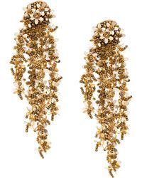 Oscar de la Renta Beaded Cascade Drop Earrings - Brown