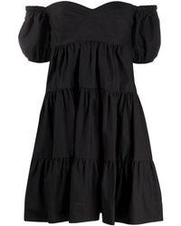 Pinko Платье С Открытыми Плечами И Сборками - Черный