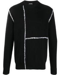 Les Hommes コントラストステッチ セーター - ブラック