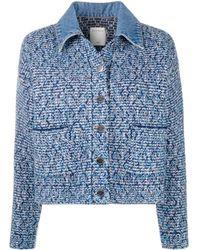 Sandro Veste en tweed à col en jean - Bleu