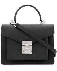 MCM Patricia Satchel In Grained Leather - Black