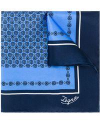 Ermenegildo Zegna Carré de poche imprimé - Bleu