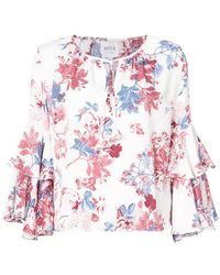 MISA - Floral Tied Blouse - Lyst