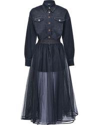 Pinko Расклешенное Платье Со Вставкой В Стиле Рубашки - Синий