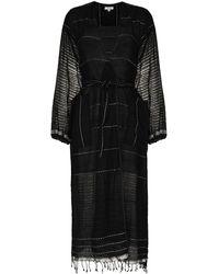 lemlem Tikuri Contrast-stitching Robe - Black