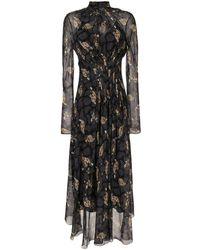 Ferragamo Robe mi-longue à fleurs - Noir