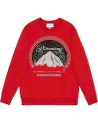 Gucci Oversize Sweatshirt With Paramount Logo - Rood