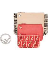 Fendi Triplette Wallet - Red