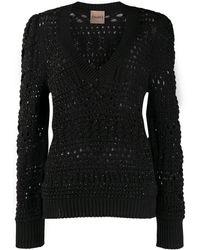 Nude V-neck Loose Knit Jumper - Black
