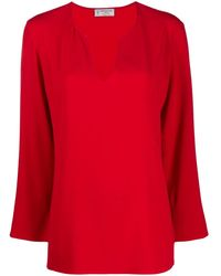 Alberto Biani V-neck Loose-fit Blouse - Red