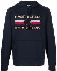 Tommy Hilfiger Hoodie Met Geborduurd Logo - Blauw