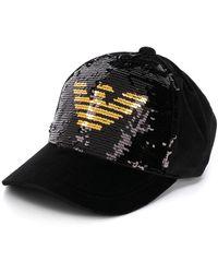 Emporio Armani - Sequin Logo Baseball Cap - Lyst
