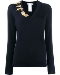 Dior Pre-owned Bead Embroidery Slim Jumper - Blue