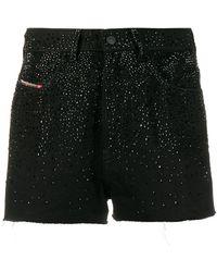 DIESEL Embellished high-waisted shorts - Schwarz