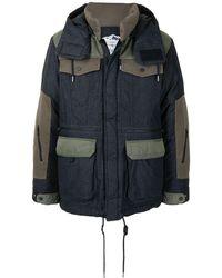White Mountaineering パネル パデッドジャケット - ブルー