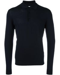 Fashion Clinic Long Sleeved Knitted Polo Shirt - Blue