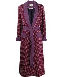 Temperley London Пальто Миди С Геометричным Принтом - Пурпурный