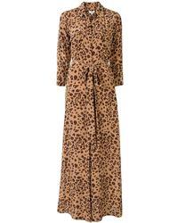 L'Agence Платье-рубашка Макси С Леопардовым Принтом - Коричневый