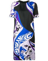 Emilio Pucci Hanami Print Silk Shift Dress - Blue