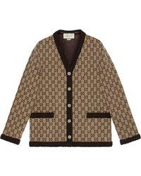 Gucci GG Intarsia-knit Cardigan - Brown