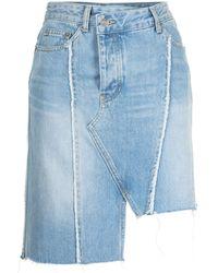 SJYP Minijupe en jean à effet usé - Bleu
