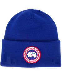 Canada Goose Bonnet à patch logo - Bleu